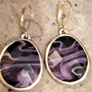 Dangle Earrings Faceted Purple Swirl Slag Glass